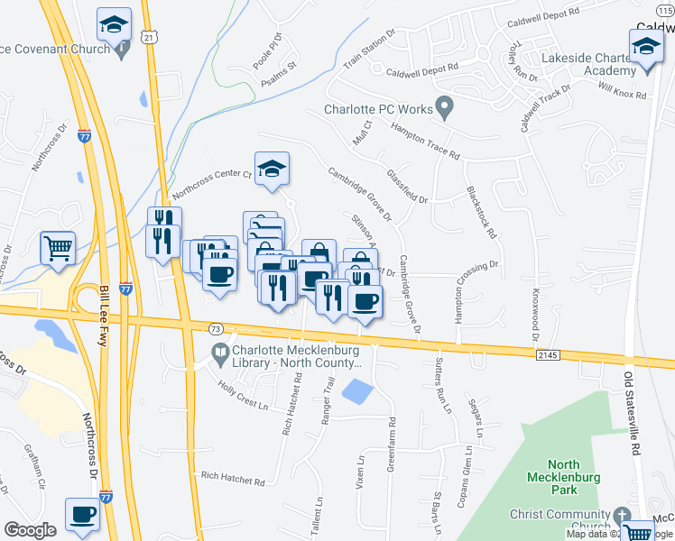 map of restaurants, bars, coffee shops, grocery stores, and more near 9926 Glencrest Drive in Huntersville