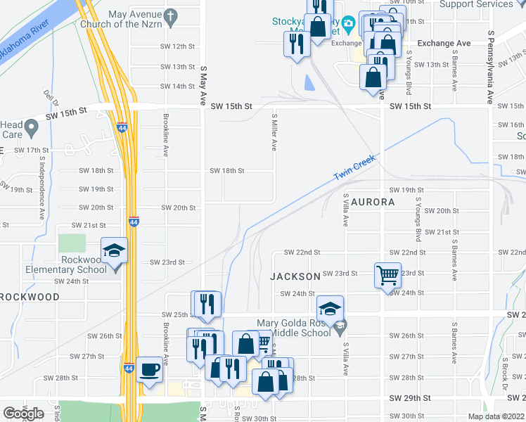 map of restaurants, bars, coffee shops, grocery stores, and more near 2929 Northwest 33rd Street in Oklahoma City