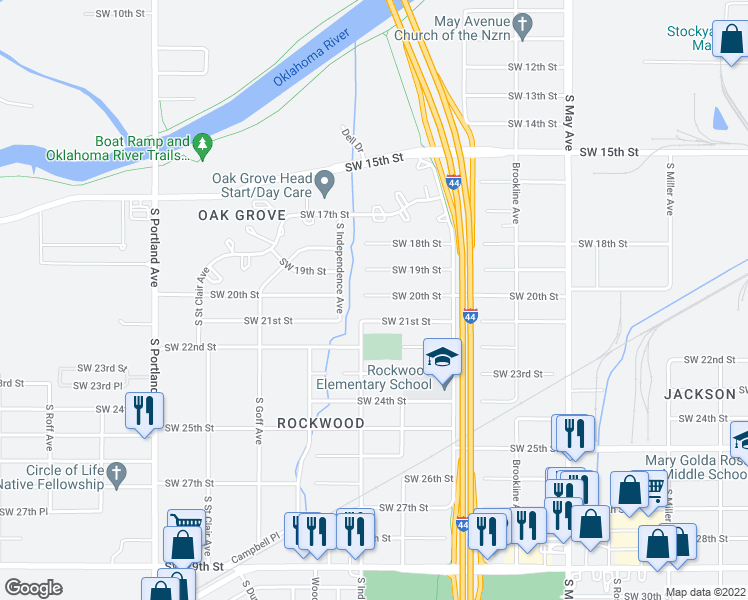 map of restaurants, bars, coffee shops, grocery stores, and more near 3224 Southwest 20th Street in Oklahoma City
