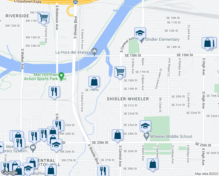 map of restaurants, bars, coffee shops, grocery stores, and more near 205 Southeast 19th Street in Oklahoma City