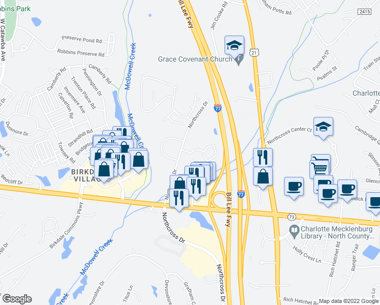 map of restaurants, bars, coffee shops, grocery stores, and more near 16938 Landings Drive in Huntersville