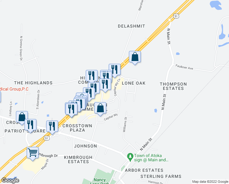 map of restaurants, bars, coffee shops, grocery stores, and more near 76 Capital Way in Atoka
