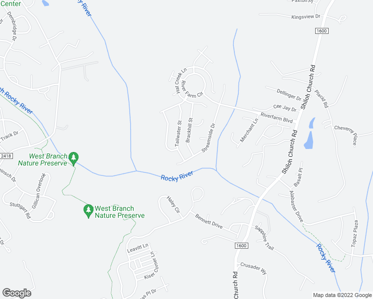 map of restaurants, bars, coffee shops, grocery stores, and more near 3315 Brackhill Street in Davidson