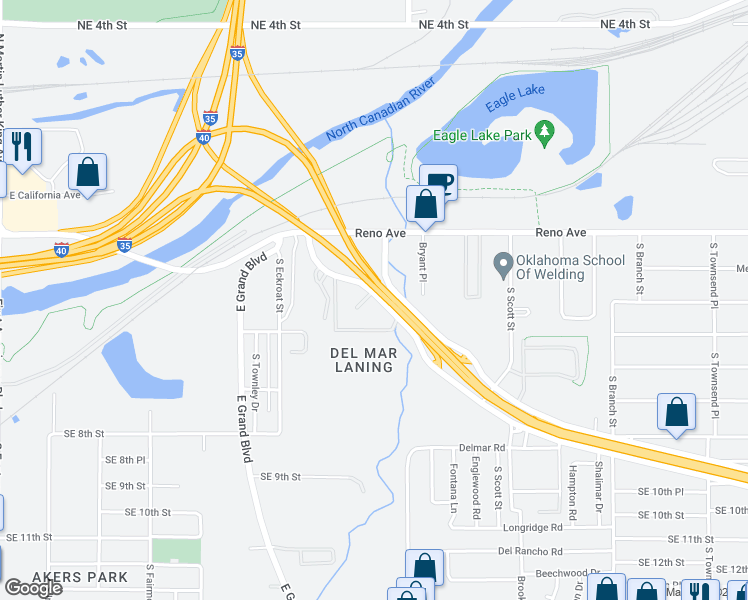 map of restaurants, bars, coffee shops, grocery stores, and more near 421 Tinker Diagonal Street in Oklahoma City