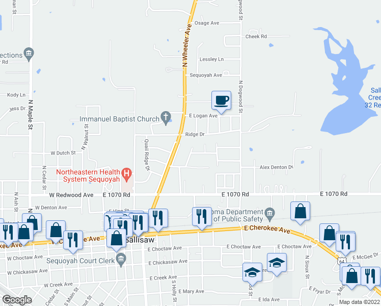 map of restaurants, bars, coffee shops, grocery stores, and more near Zulkey Street in Sallisaw