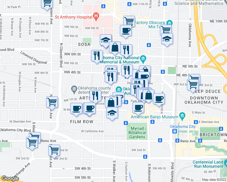 map of restaurants, bars, coffee shops, grocery stores, and more near 322 North Walker Avenue in Oklahoma City