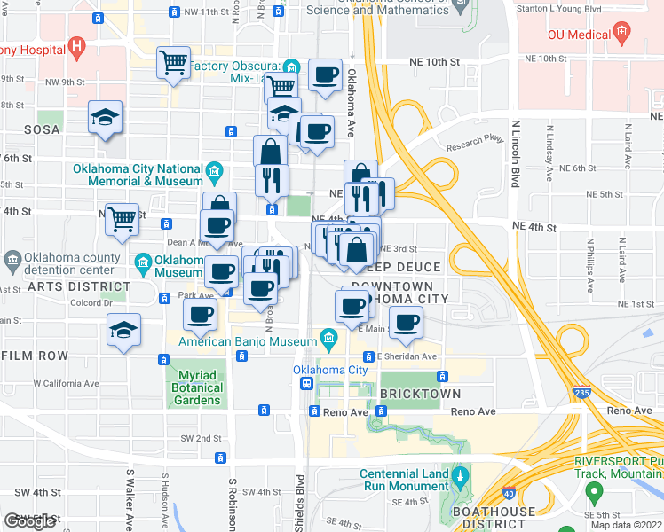 map of restaurants, bars, coffee shops, grocery stores, and more near 1 Northeast 2nd Street in Oklahoma City