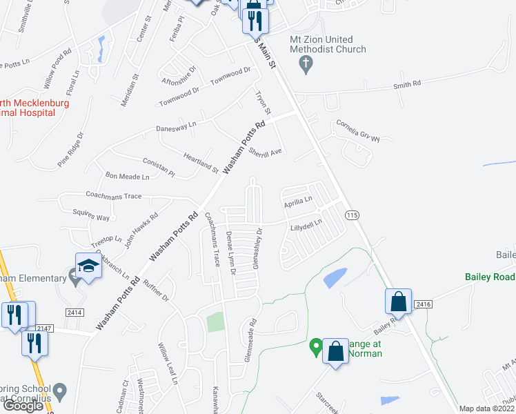 map of restaurants, bars, coffee shops, grocery stores, and more near 9176 Glenashley Drive in Cornelius