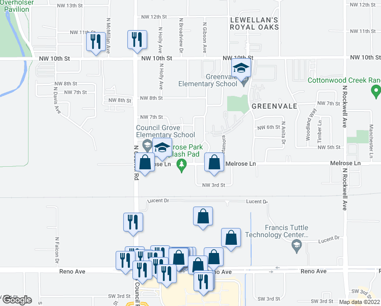 map of restaurants, bars, coffee shops, grocery stores, and more near 513 North Tompkins Drive in Oklahoma City
