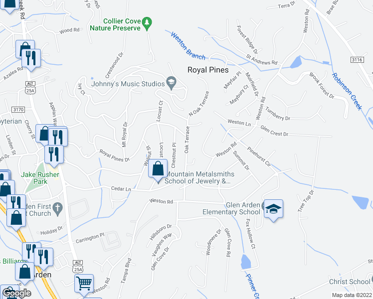 map of restaurants, bars, coffee shops, grocery stores, and more near Oak Terrace in Royal Pines