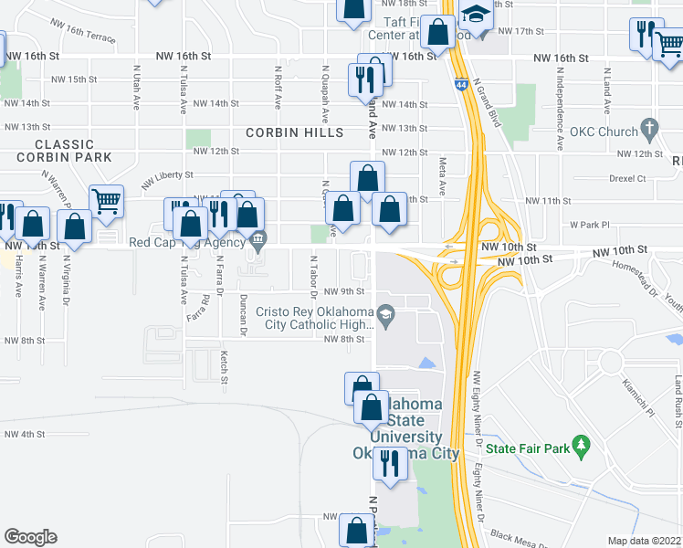 map of restaurants, bars, coffee shops, grocery stores, and more near 1016 North Quapah Avenue in Oklahoma City