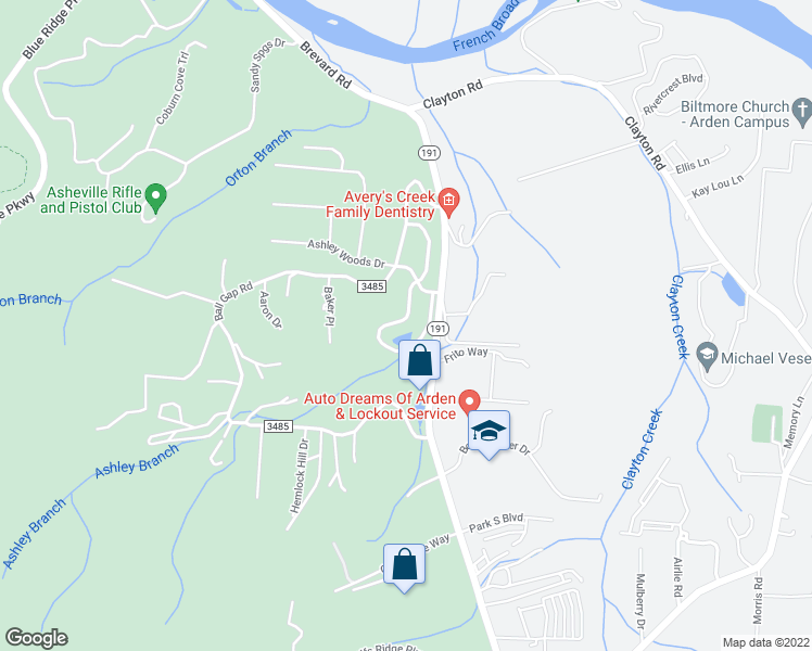 map of restaurants, bars, coffee shops, grocery stores, and more near 167 Carolina Bluebird Loop in Arden