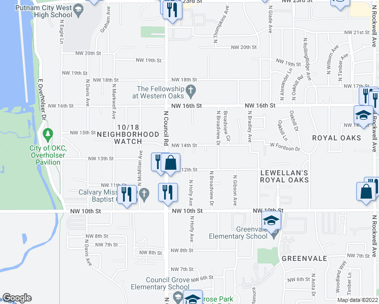 map of restaurants, bars, coffee shops, grocery stores, and more near 1409 Patricia Avenue in Oklahoma City