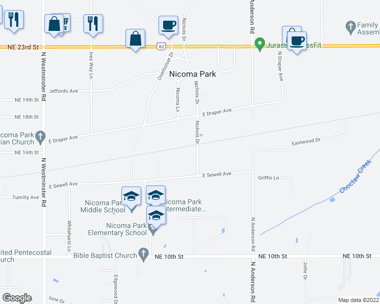 map of restaurants, bars, coffee shops, grocery stores, and more near 1605 Nichols Dr in Choctaw