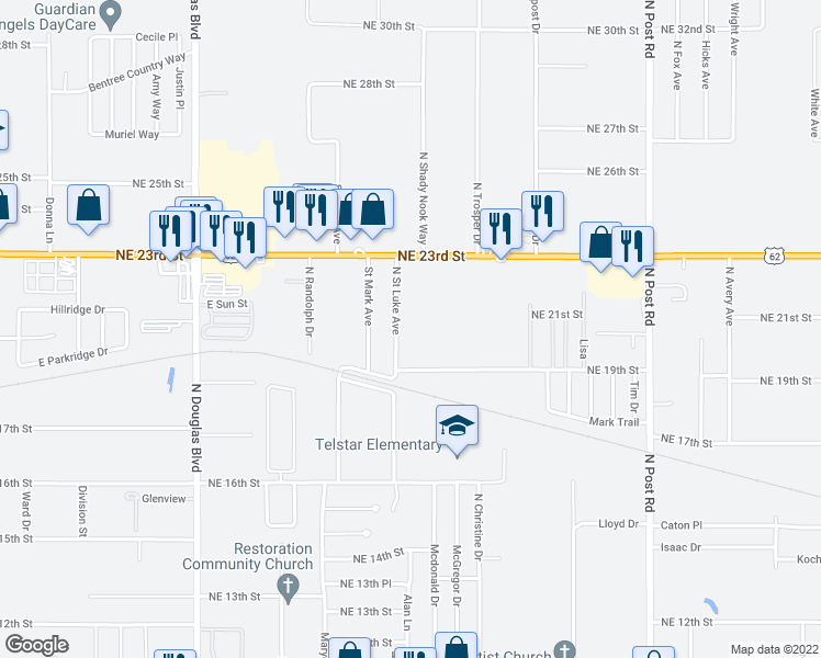 map of restaurants, bars, coffee shops, grocery stores, and more near 2104 North Saint Luke Avenue in Oklahoma City