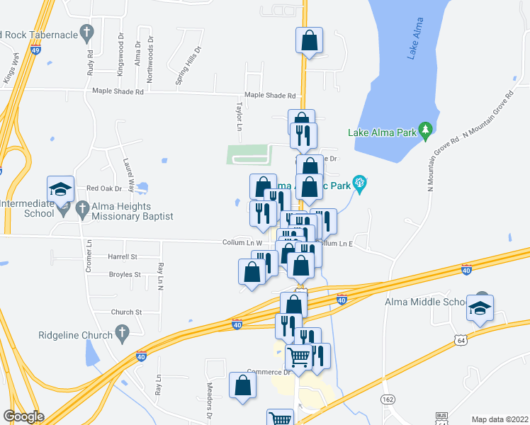 map of restaurants, bars, coffee shops, grocery stores, and more near Garden Drive in Alma