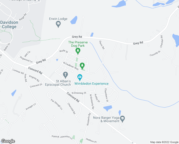 map of restaurants, bars, coffee shops, grocery stores, and more near 110 O'Henry Avenue in Davidson