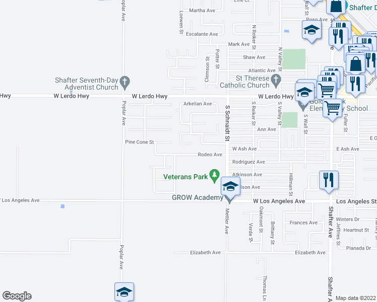 map of restaurants, bars, coffee shops, grocery stores, and more near 614 Rodeo Avenue in Shafter