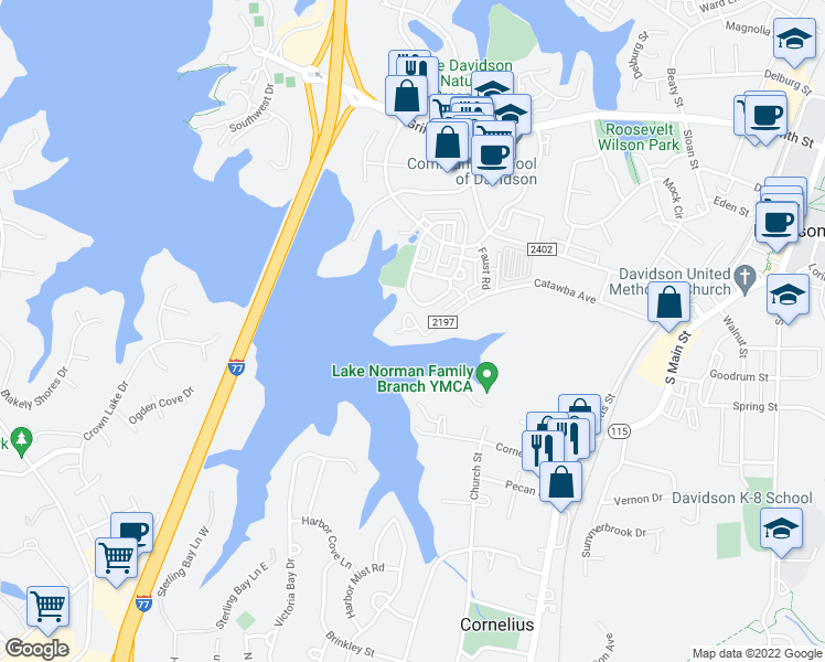 map of restaurants, bars, coffee shops, grocery stores, and more near 648 Catawba Avenue in Davidson