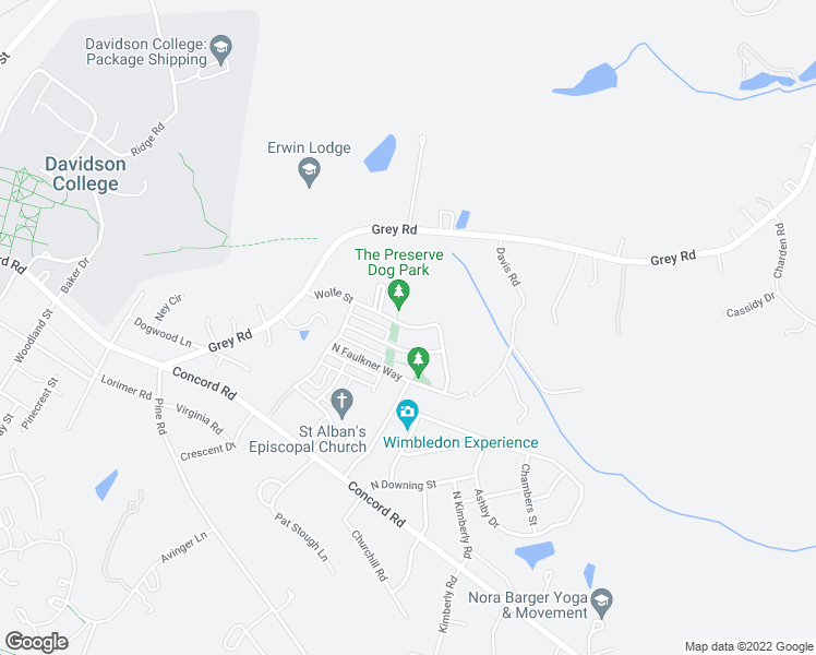 map of restaurants, bars, coffee shops, grocery stores, and more near 324 O'Henry Avenue in Davidson