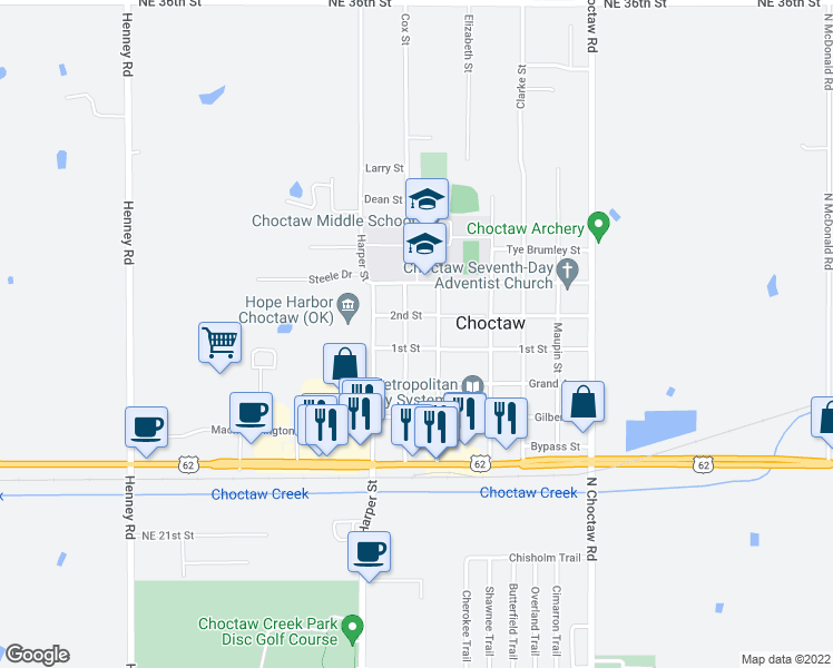 map of restaurants, bars, coffee shops, grocery stores, and more near 2740 Hawkin Street in Choctaw