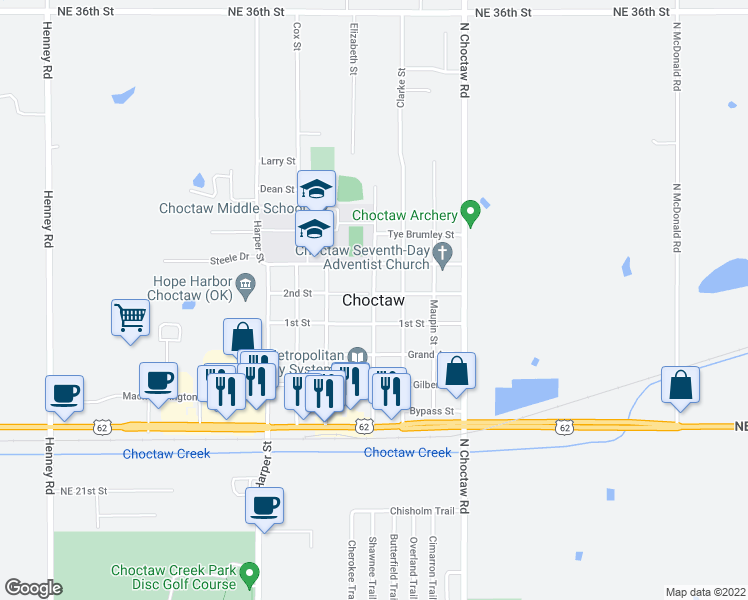 map of restaurants, bars, coffee shops, grocery stores, and more near 9909 Jamie Way in Choctaw