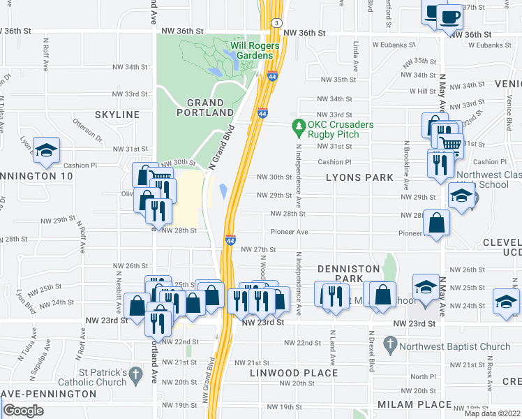 map of restaurants, bars, coffee shops, grocery stores, and more near 3401 Northwest 28th Street in Oklahoma City