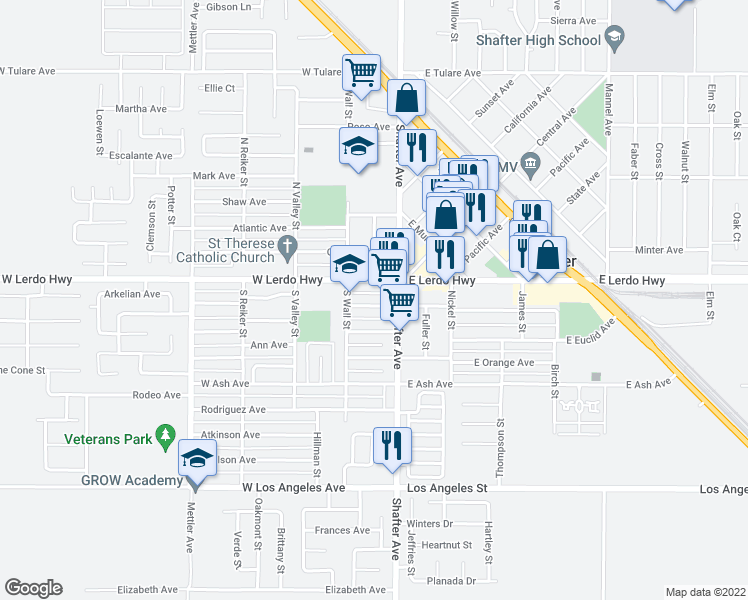 map of restaurants, bars, coffee shops, grocery stores, and more near 136 Beth Eden Street in Shafter
