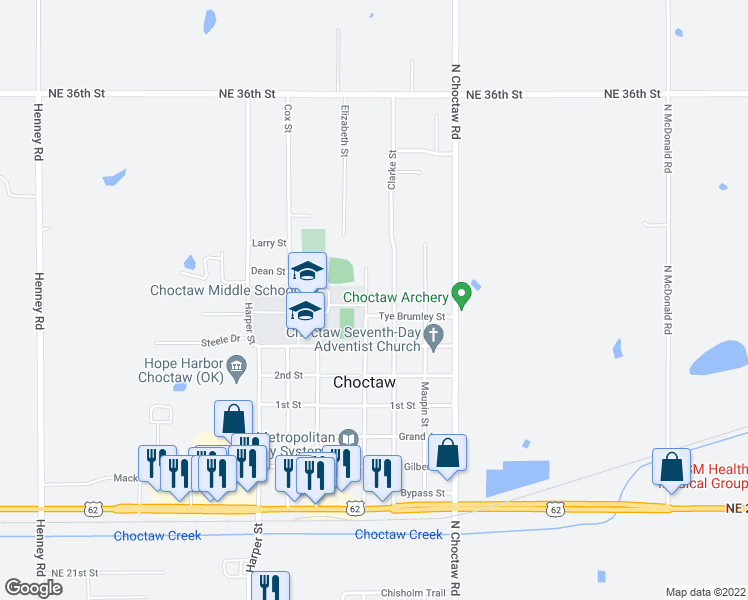 map of restaurants, bars, coffee shops, grocery stores, and more near 3040 Muzzy Street in Choctaw