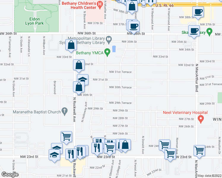 map of restaurants, bars, coffee shops, grocery stores, and more near 6712 Northwest 30th Terrace in Bethany