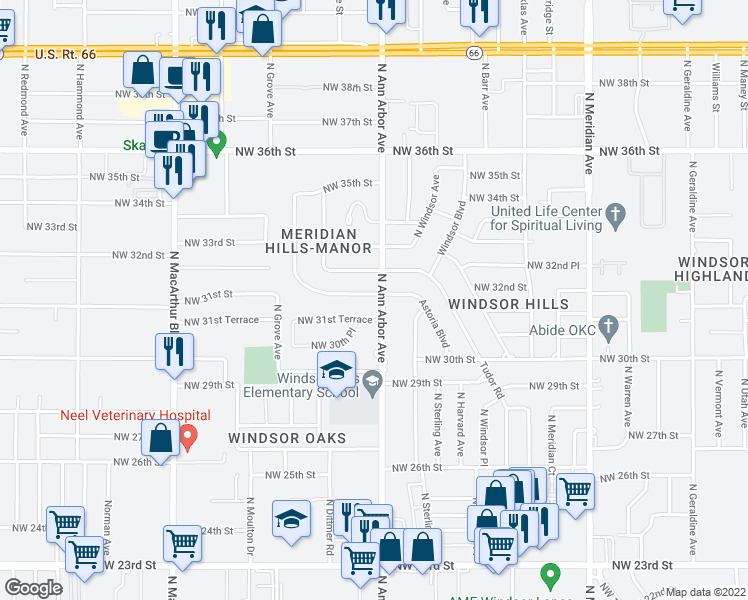 map of restaurants, bars, coffee shops, grocery stores, and more near 4900 Northwest 31st Street in Oklahoma City