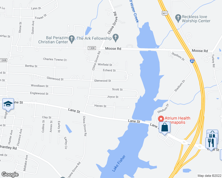 map of restaurants, bars, coffee shops, grocery stores, and more near Scott Street in Kannapolis