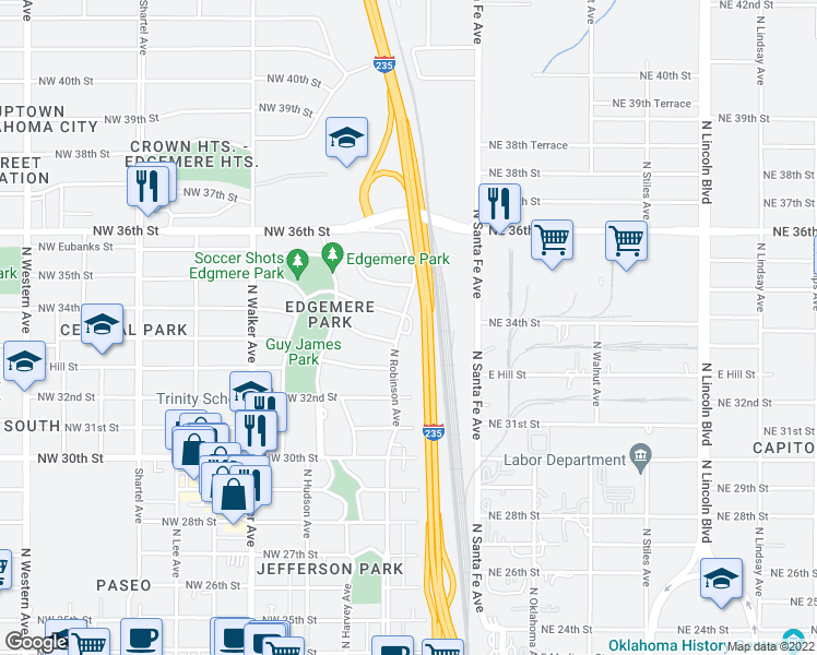 map of restaurants, bars, coffee shops, grocery stores, and more near 3512 N Robinson Ave in Oklahoma City