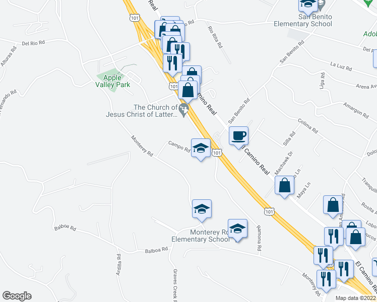 map of restaurants, bars, coffee shops, grocery stores, and more near 2720 Campo Road in Atascadero