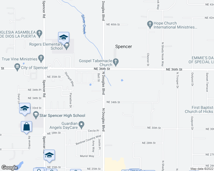 map of restaurants, bars, coffee shops, grocery stores, and more near 3508 North Douglas Boulevard in Spencer