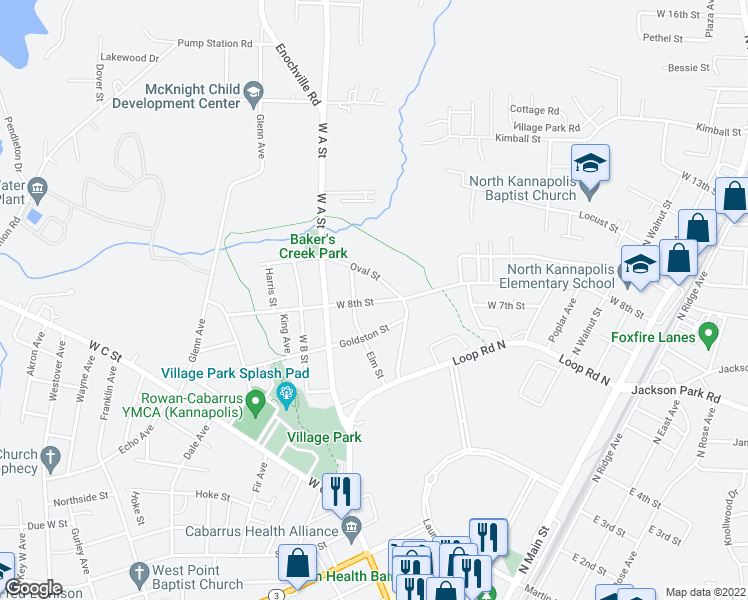 map of restaurants, bars, coffee shops, grocery stores, and more near 706 West 8th Street in Kannapolis