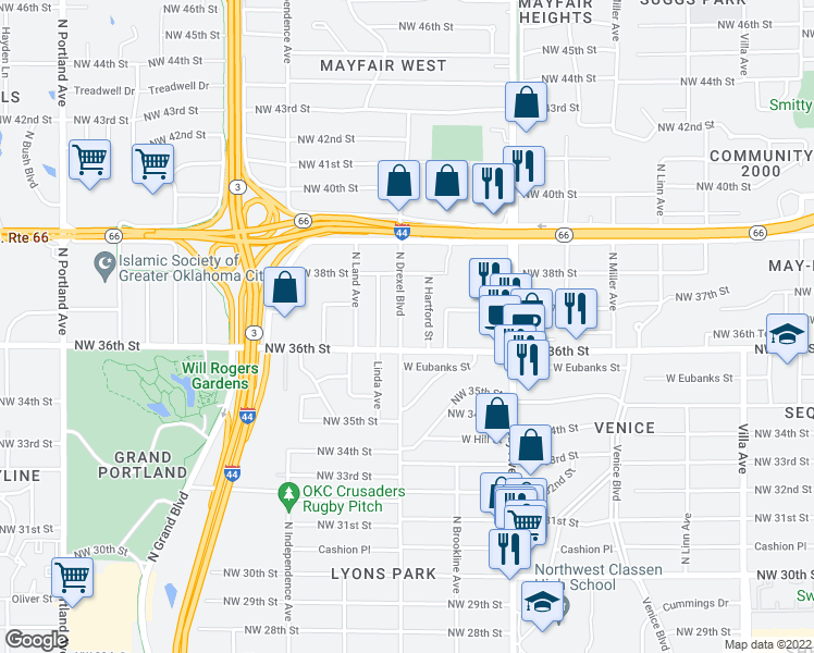 map of restaurants, bars, coffee shops, grocery stores, and more near 3718 North Drexel Boulevard in Oklahoma City