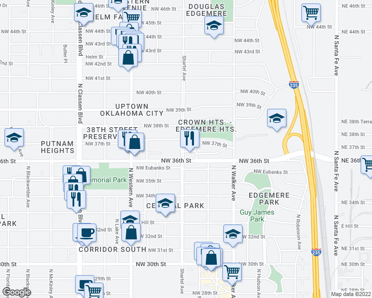 map of restaurants, bars, coffee shops, grocery stores, and more near 3712 North Shartel Avenue in Oklahoma City