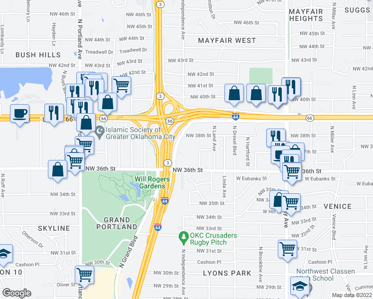 map of restaurants, bars, coffee shops, grocery stores, and more near 3800 N I 44 Service Rd in Oklahoma City