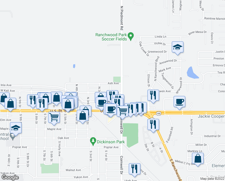 map of restaurants, bars, coffee shops, grocery stores, and more near 35 Birch Avenue in Yukon