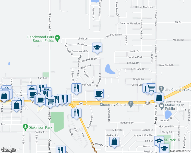 map of restaurants, bars, coffee shops, grocery stores, and more near 301 Kimberly Lane in Yukon