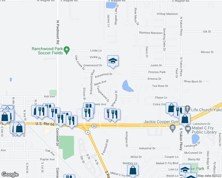 map of restaurants, bars, coffee shops, grocery stores, and more near 309 Kimberly Lane in Yukon