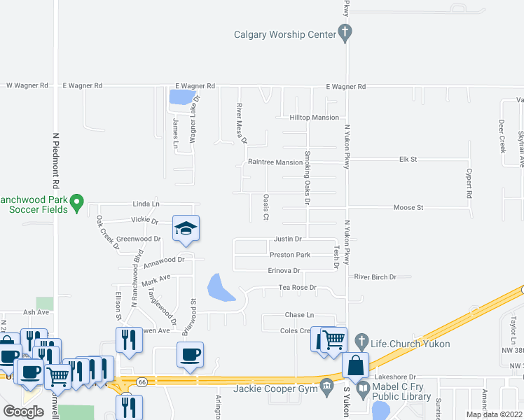map of restaurants, bars, coffee shops, grocery stores, and more near 4520 Oasis Lane in Yukon