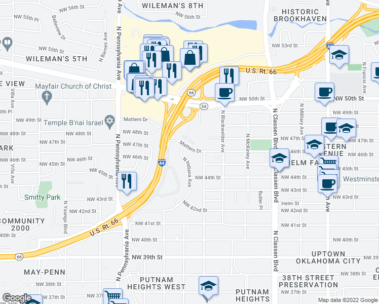 map of restaurants, bars, coffee shops, grocery stores, and more near 1722 Mattern Drive in Oklahoma City