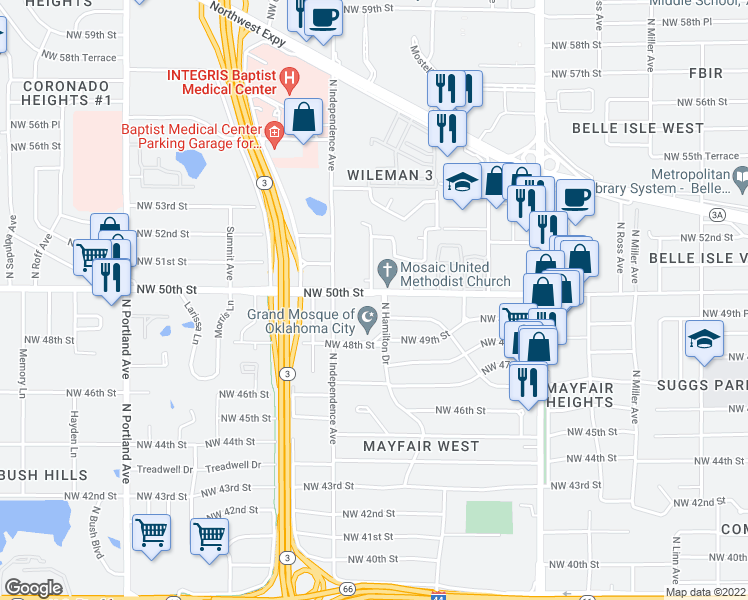 map of restaurants, bars, coffee shops, grocery stores, and more near 3206 Northwest 50th Street in Oklahoma City