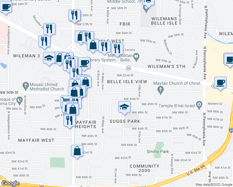 map of restaurants, bars, coffee shops, grocery stores, and more near 2618 Northwest 50th Street in Oklahoma City