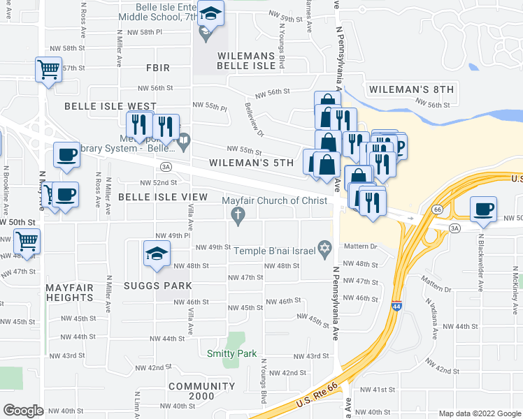 map of restaurants, bars, coffee shops, grocery stores, and more near 5110 North Youngs Boulevard in Oklahoma City