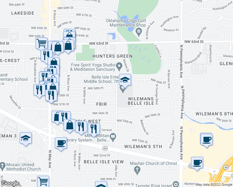 map of restaurants, bars, coffee shops, grocery stores, and more near 2506 Northwest 58th Street in Oklahoma City