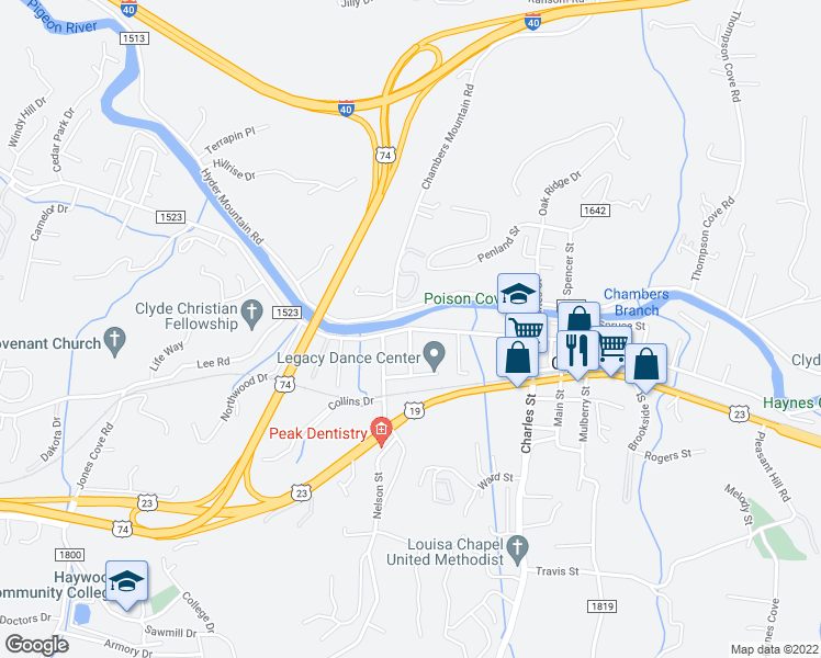 map of restaurants, bars, coffee shops, grocery stores, and more near 1-319 Hyder Mountain Road in Clyde