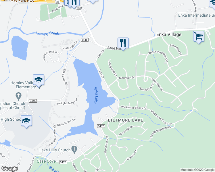 map of restaurants, bars, coffee shops, grocery stores, and more near Mountain Drive in Candler